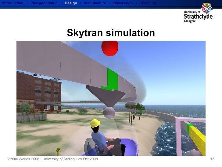 Skytran simulation Introduction  •  Idea generation   •  Design   •  Manufacture  •  Discussion  •  Teaching
