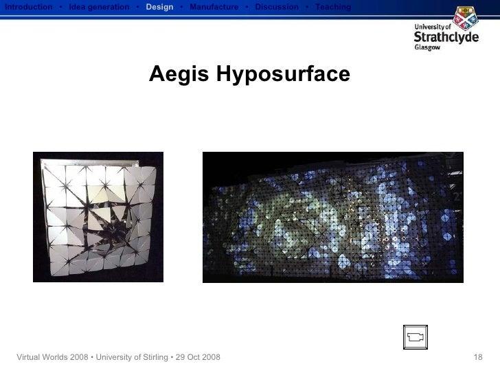 Aegis Hyposurface Introduction  •  Idea generation   •  Design   •  Manufacture  •  Discussion  •  Teaching