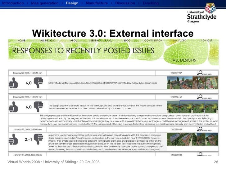 Wikitecture 3.0: External interface Introduction  •  Idea generation   •  Design   •  Manufacture  •  Discussion  •  Teach...