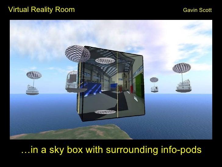Virtual Reality Room Gavin Scott <ul><li>…in a sky box with surrounding info-pods </li></ul>
