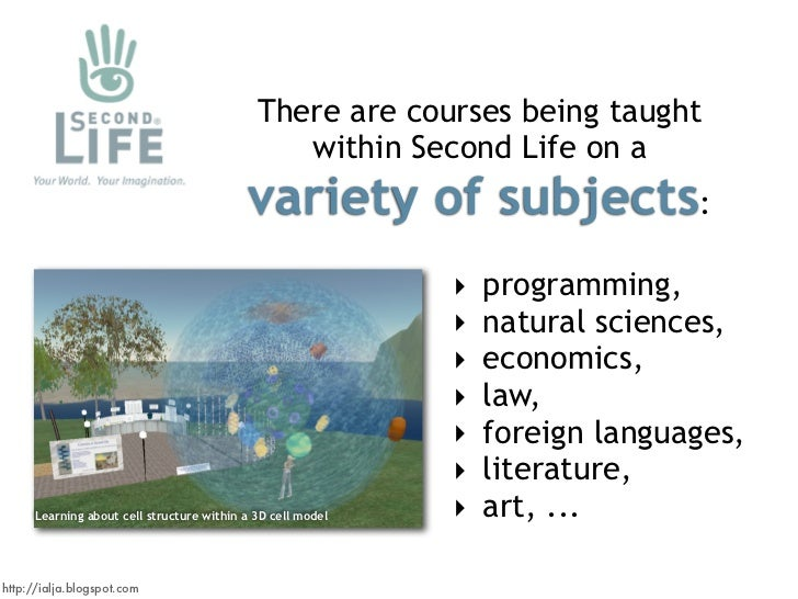 There are courses being taught                                                 within Second Life on a                    ...