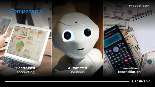 P R O D U C T D E C K Components Centralised  accounting Automated  solutions Streamlined  reconciliation