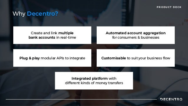 P R O D U C T D E C K Create and link multiple  bank accounts in real-time Automated account aggregation  for consumers & ...