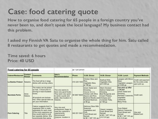 Case: Food Catering Quote How