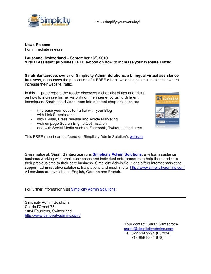 Let us simplify your workday!     News Release For immediate release  Lausanne, Switzerland – September 13th, 2010 Virtual...