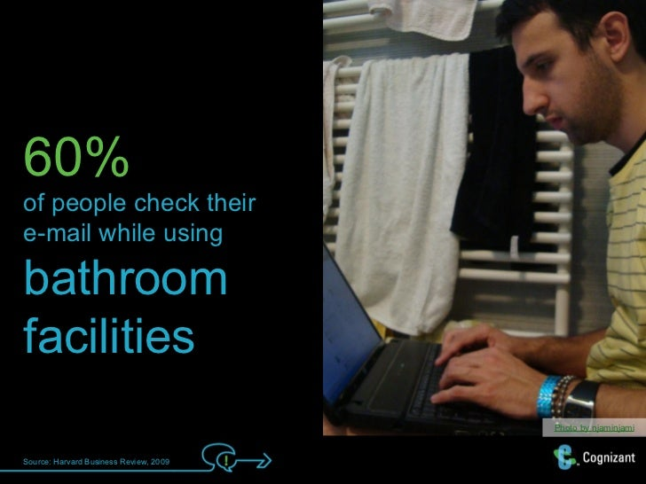 60%of people check theire-mail while usingbathroomfacilities                                        Photo by njaminjamiSou...