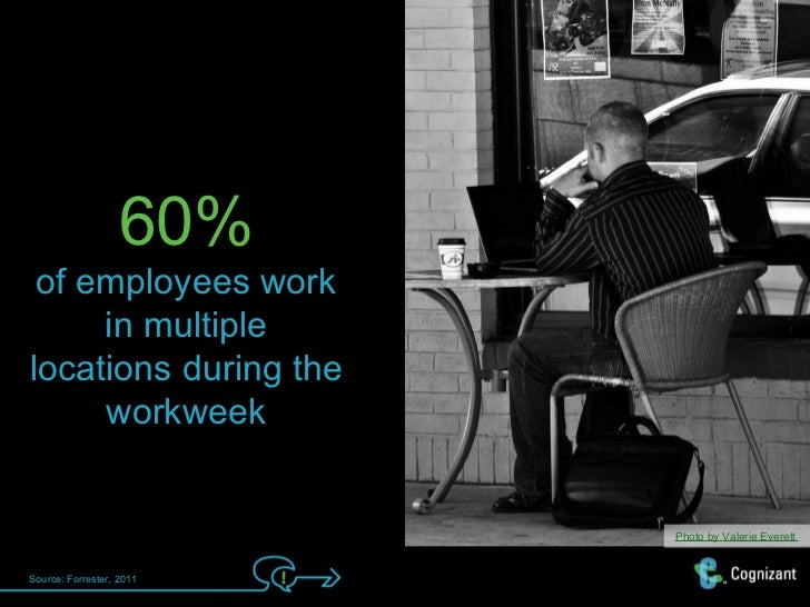 60% of employees work     in multiplelocations during the     workweek                          Photo by Valerie EverettSo...
