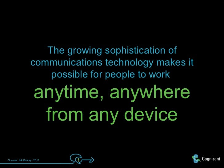 The growing sophistication of               communications technology makes it                   possible for people to wo...