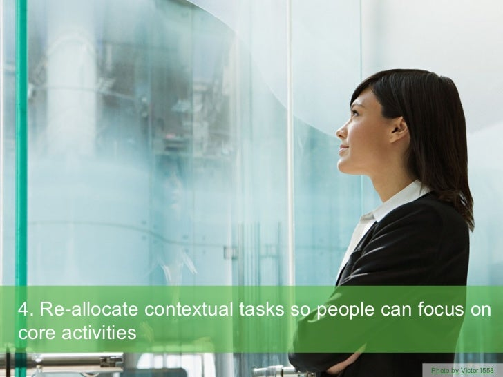 4. Re-allocate contextual tasks so people can focus oncore activities                                               Photo ...