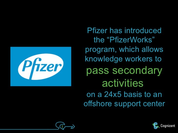 """Pfizer has introduced   the """"PfizerWorks""""program, which allowsknowledge workers topass secondary   activities on a 24x5 ba..."""