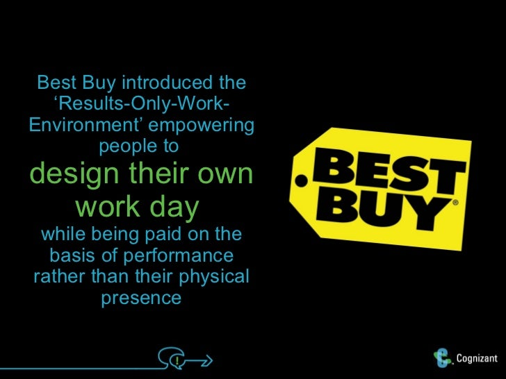 Best Buy introduced the  'Results-Only-Work-Environment' empowering       people todesign their own   work day while being...