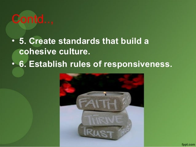 Contd..,  • 5. Create standards that build a  cohesive culture.  • 6. Establish rules of responsiveness.
