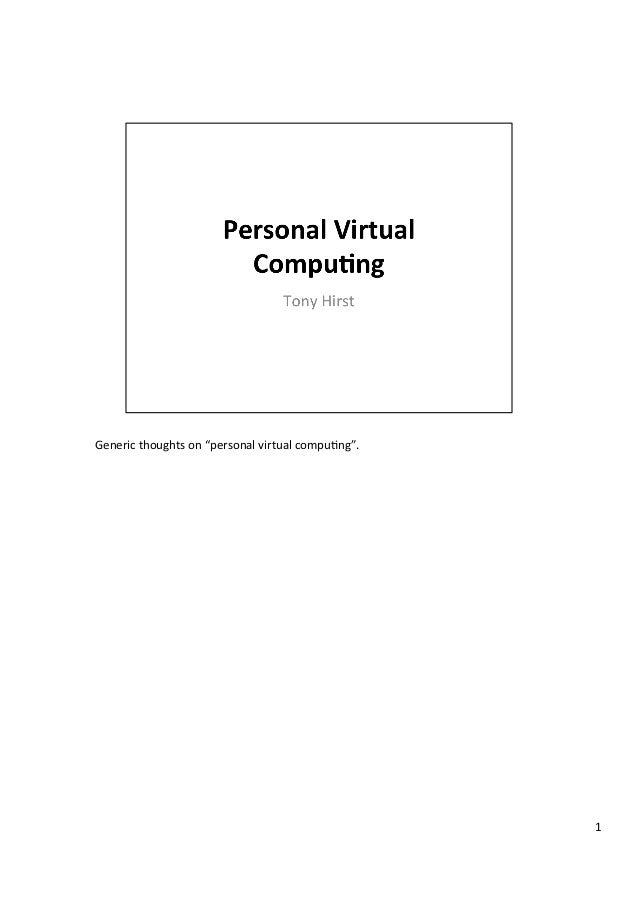 """Genericthoughtson""""personalvirtualcompu4ng"""". 1"""