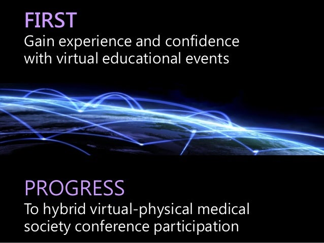 FIRST Gain experience and confidence with virtual educational events PROGRESS To hybrid virtual-physical medical society c...