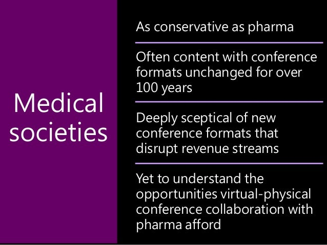 As conservative as pharma Often content with conference formats unchanged for over 100 years Deeply sceptical of new confe...