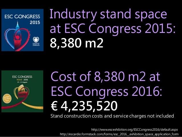 Industry stand space at ESC Congress 2015: 8,380 m2 http://escardio.formstack.com/forms/esc_2016__exhibition_space_applica...