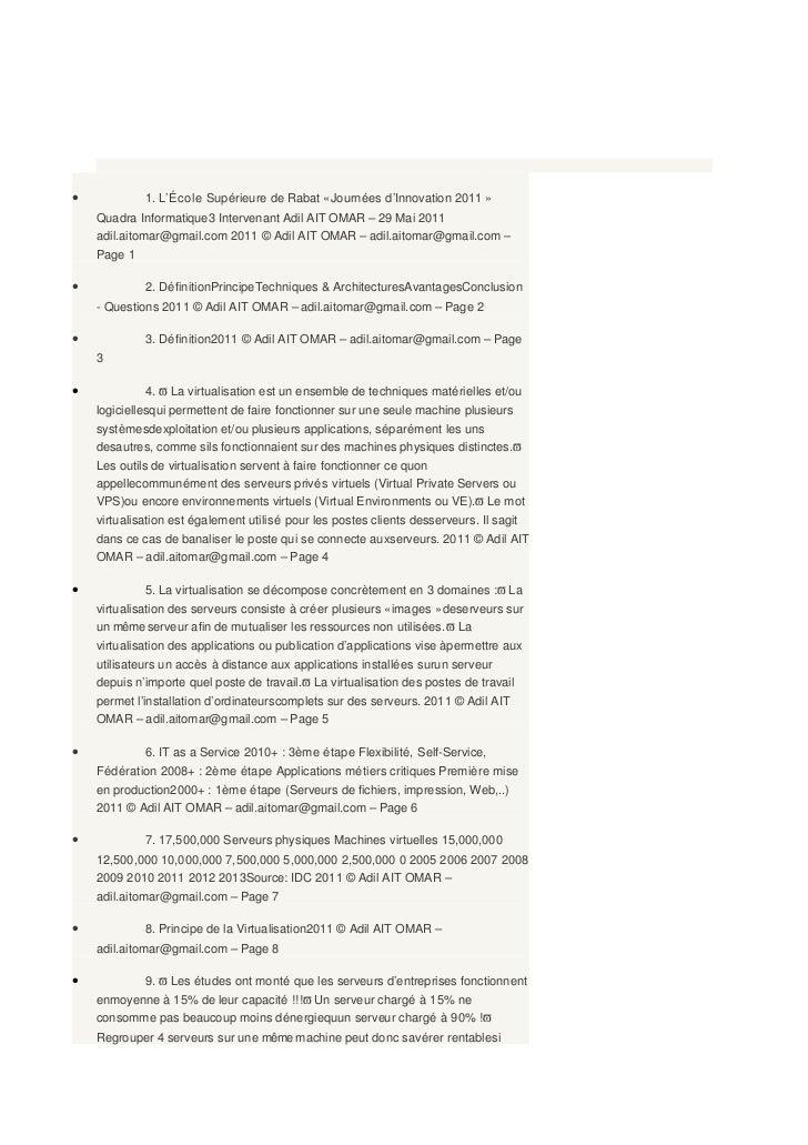 Virtualisation - Etat de l'art — Presentation Transcript•            1. L'École Supérieure de Rabat « Journées d'Innovatio...