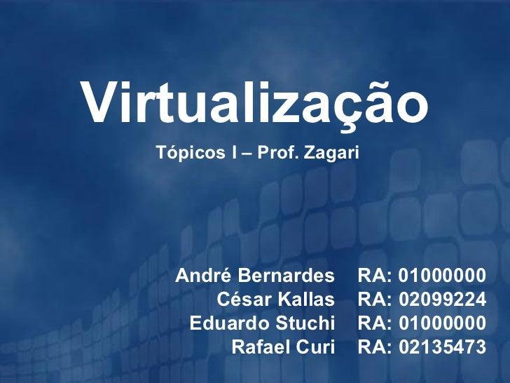 Virtualização  Tópicos I – Prof. Zagari    André Bernardes      RA: 01000000       César Kallas      RA: 02099224     Edua...