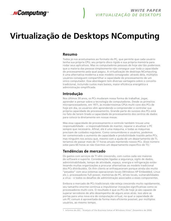 w h ite pape r                                            V i rt ua liz aç ão de desk top s     Virtualização de Desktops ...