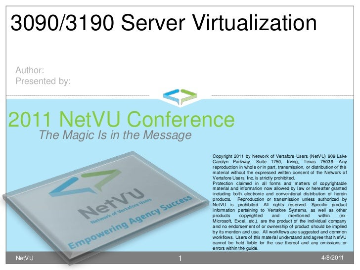 The Magic Is in the Message<br />4/8/2011<br />NetVU<br />1<br />3090/3190 Server Virtualization<br />Author:<br />Present...