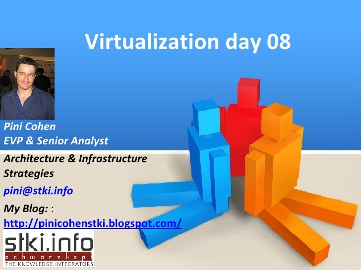 Virtualization day 08 Pini Cohen EVP & Senior Analyst Architecture & Infrastructure Strategies [email_address] My Blog:  :...