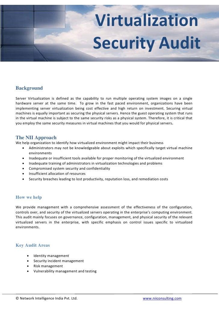 Virtualization                                                  Security Audit  Background Server Virtualization is define...