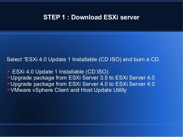 """STEP 1 : Download ESXi server  Select """"ESXi 4.0 Update 1 Installable (CD ISO) and burn a CD.  ESXi 4.0 Update 1 Installab..."""