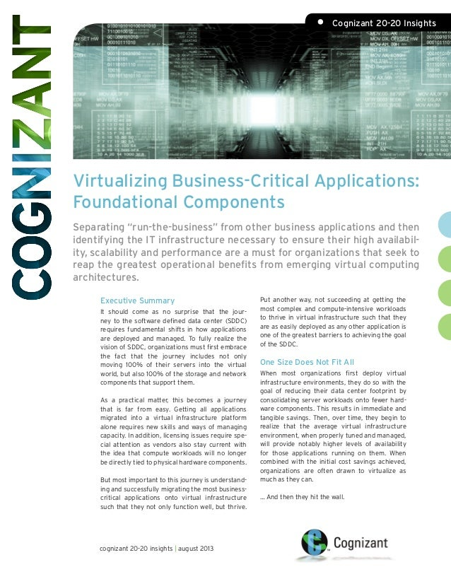 "Virtualizing Business-Critical Applications: Foundational Components Separating ""run-the-business"" from other business app..."
