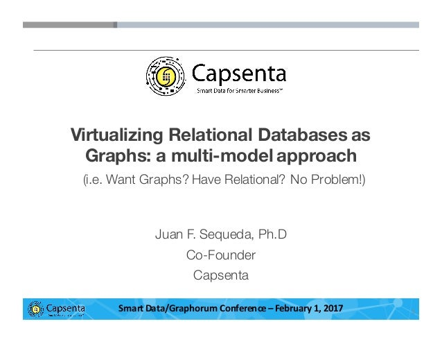 Smart Data for Smarter Business | © 2016 Capsenta | capsenta.com Virtualizing Relational Databases as Graphs: a multi-mode...