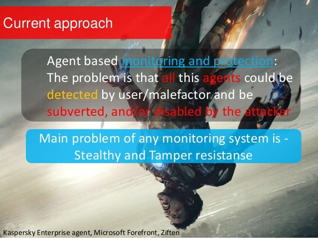 Current approach Agent based monitoring and protection: The problem is that all this agents could be detected by user/male...