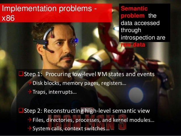 Implementation problems - x86 Step 1: Procuring low-level VM states and events Disk blocks, memory pages, registers… Tr...