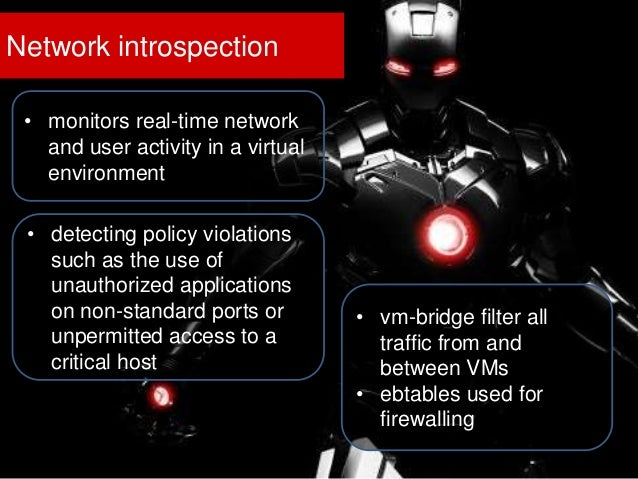 Network introspection • monitors real-time network and user activity in a virtual environment • detecting policy violation...
