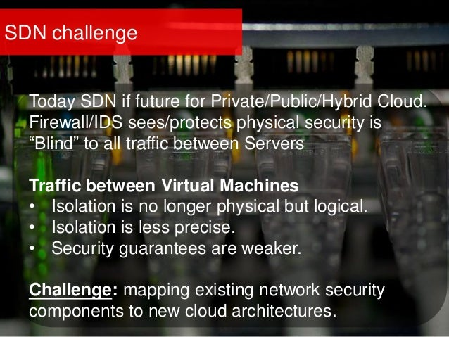 """SDN challenge Today SDN if future for Private/Public/Hybrid Cloud. Firewall/IDS sees/protects physical security is """"Blind""""..."""