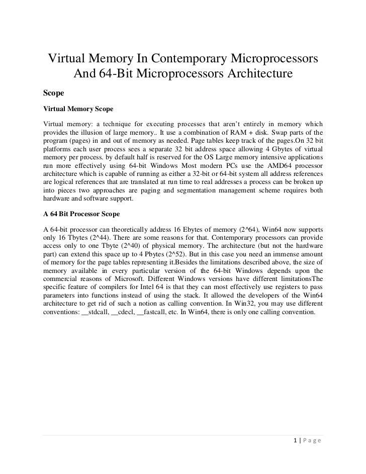 Virtual Memory In Contemporary Microprocessors      And 64-Bit Microprocessors ArchitectureScopeVirtual Memory ScopeVirtua...