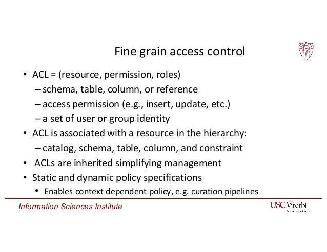 Information Sciences Institute ERMRest Fine grain access control • ACL = (resource, permission, roles) –schema, table, col...