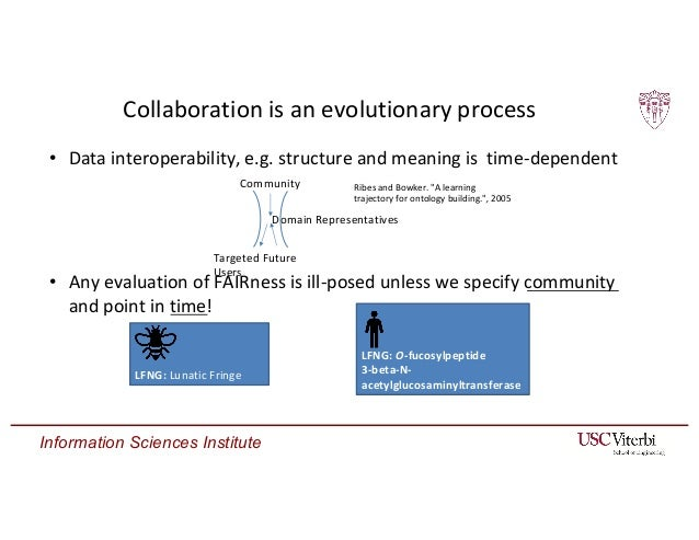Information Sciences Institute Collaboration is an evolutionary process • Data interoperability, e.g. structure and meanin...