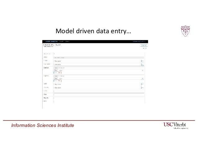 Information Sciences Institute Model driven data entry…