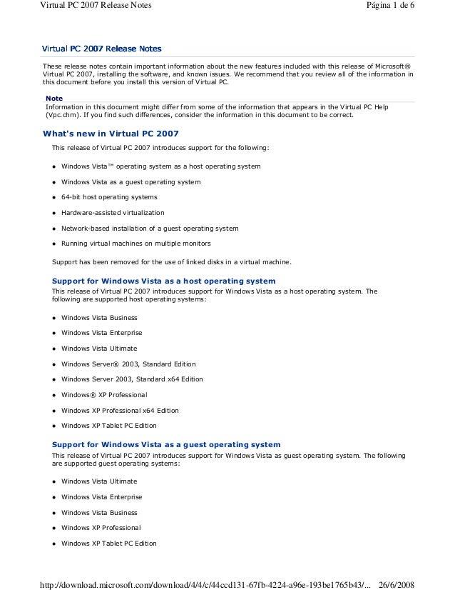 """Virtual PC 2007 Release Notes  Página 1 de 6  ! $  & (  """" # """"  %  $  %  ' """"  ) &$ """"  """"  * #  +  $  $  #  $  ,. -  $  '  . ..."""