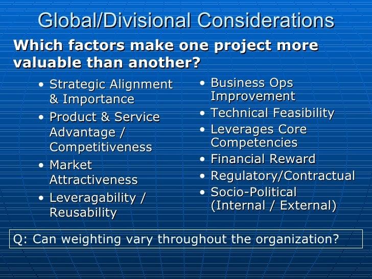 <ul><ul><li>Strategic Alignment & Importance </li></ul></ul><ul><ul><li>Product & Service Advantage / Competitiveness </li...