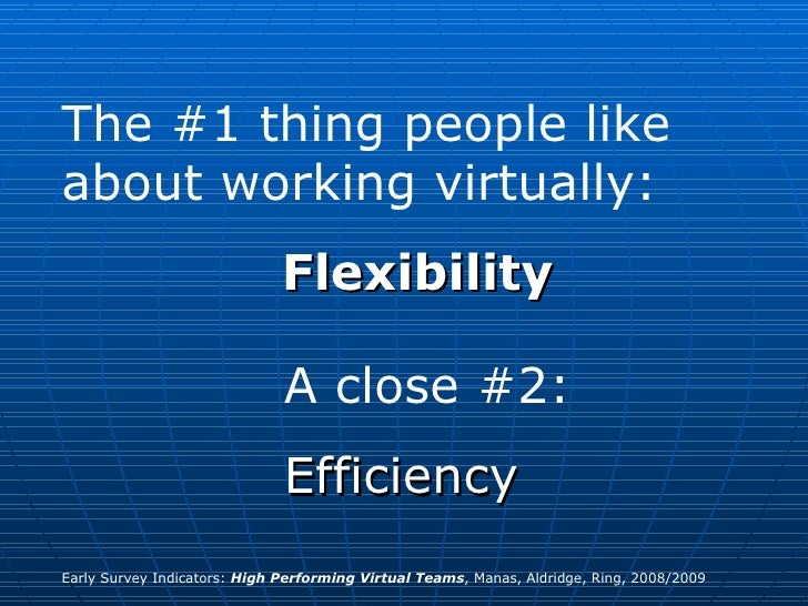 The #1 thing people like about working virtually: Flexibility A close #2:  Efficiency Early Survey Indicators:  High Perfo...