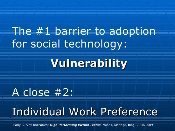 The #1 barrier to adoption for social technology: Vulnerability A close #2:  Individual Work Preference Early Survey Indic...
