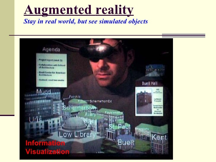 Augmented   reality Stay in real world, but see simulated objects   Information Visualization
