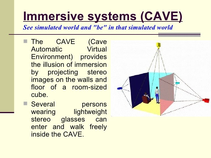 Immersive systems (CAVE) See   simulated world and &quot;be&quot; in that simulated world   <ul><li>The CAVE (Cave Automat...