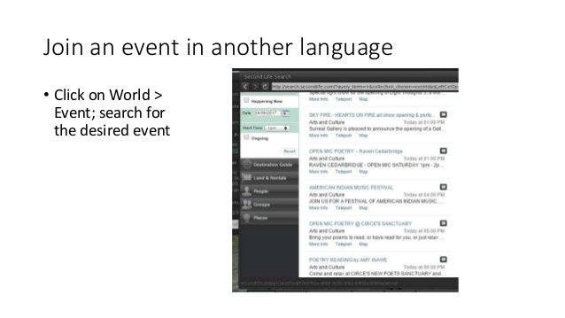 Join an event in another language • Click on World > Event; search for the desired event