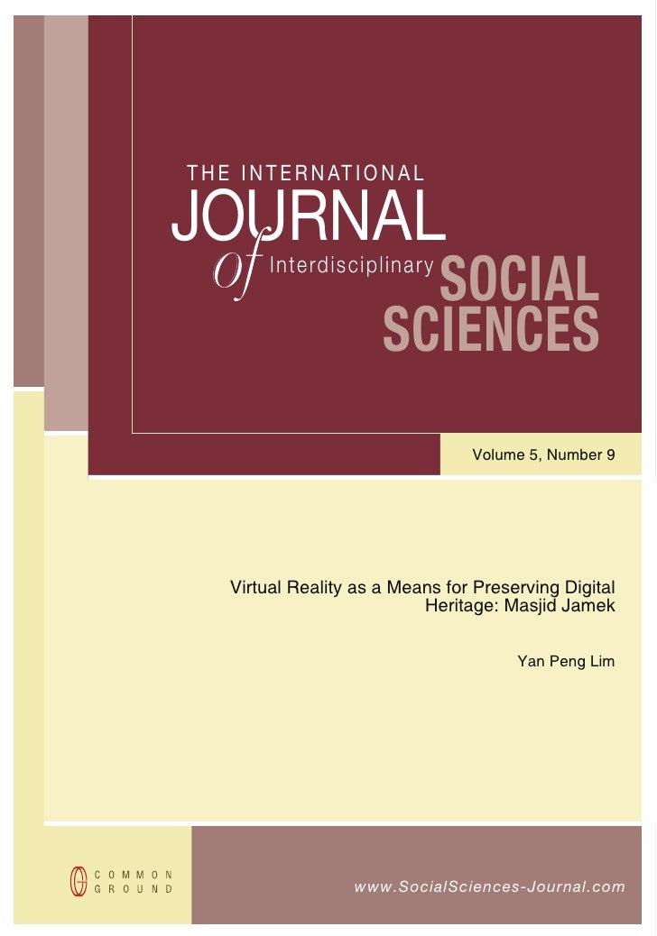 T H E I N T E R N AT I O N A LJOURNAL   of                     SOCIAL          Interdisciplinary                        SC...