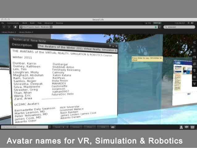 Workshop on Virtual Worlds: Second Life & OpenSim (for Virtual Realit…