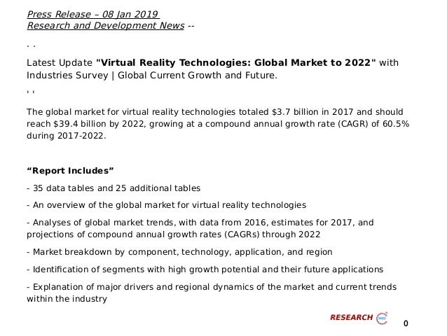 ce5191b3ddf2 Upcoming Revenue of Virtual Reality Technologies  Global Market to 2022