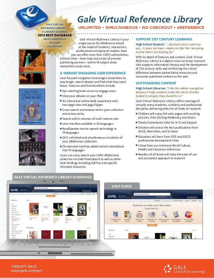 Gale Virtual Reference Library                                        UNLIMITED • SIMULTANEOUS • NO CHECKOUT • eREFERENCE ...