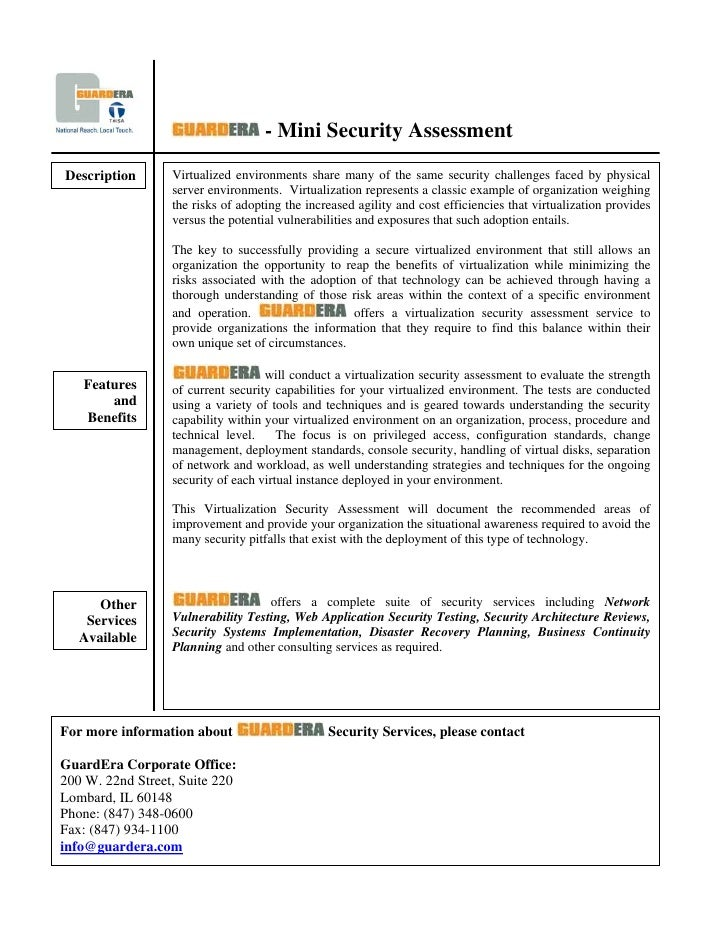 - Mini Security Assessment                   Virtualized environments share many of the same security challenges faced by ...