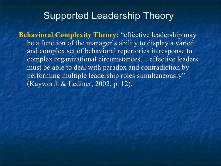 """Supported Leadership Theory <ul><li>Behavioral Complexity Theory:  """"effective leadership may be a function of the manager'..."""